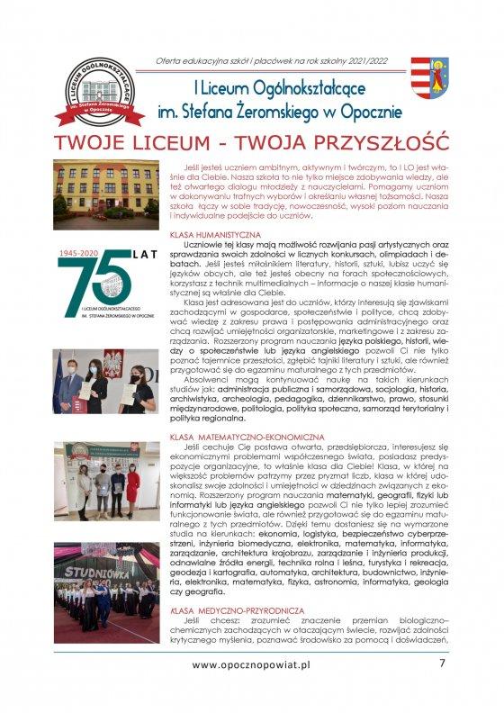 Oferta Edukacyjna Powiatu Opoczyńskiego 2021/2022 strona 9