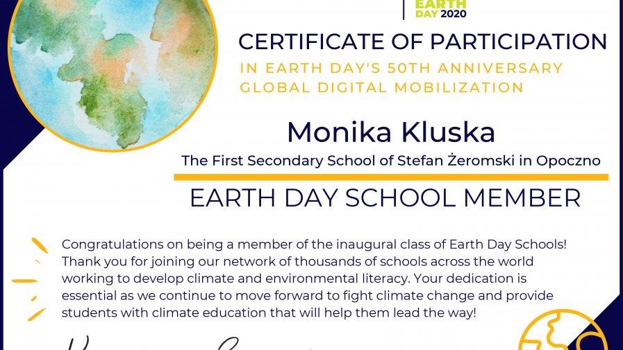 13 sierpnia 2020 roku zainteresowani uczniowie Liceum im. Żeromskiego w Opocznie wzięli udział w międzynarodowym webinarium z Waszyngtonu zorganizowanym, w ramach Citizen Science, przez Earth Day Network.