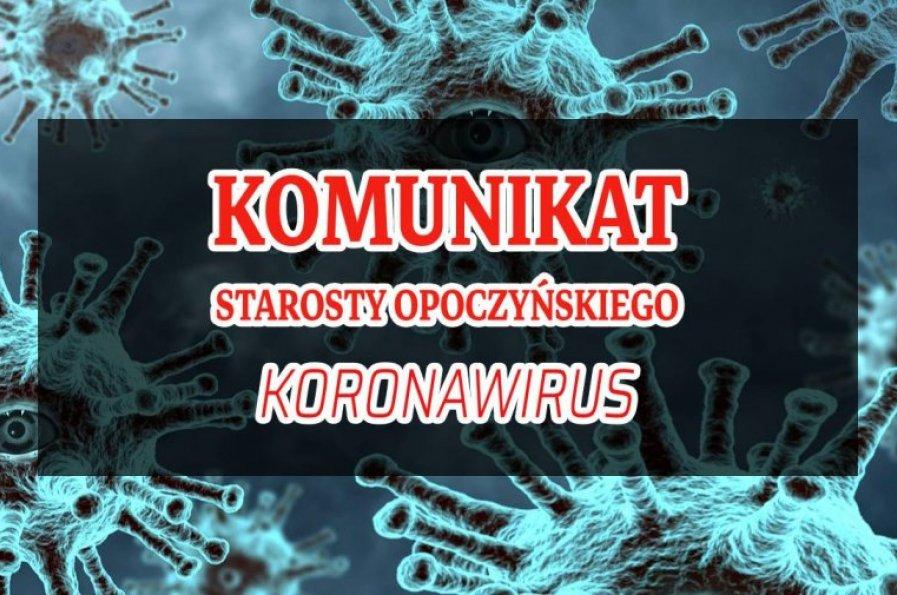 Komunikat Starosty Opoczyńskiego Koronawirus