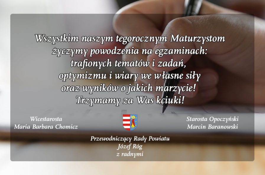 Życzenia dla maturzystów od władz Powiatu Opoczyńskiego